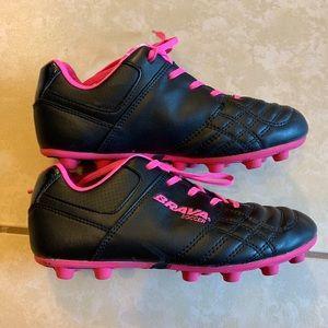 Other - Soccer Cleats Girls Size 1 Black & Pink Brava